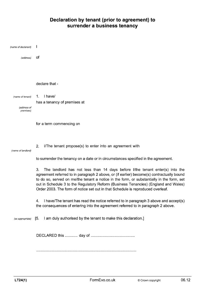 LT24(1) Declaration by tenant (prior to agreement) to ...