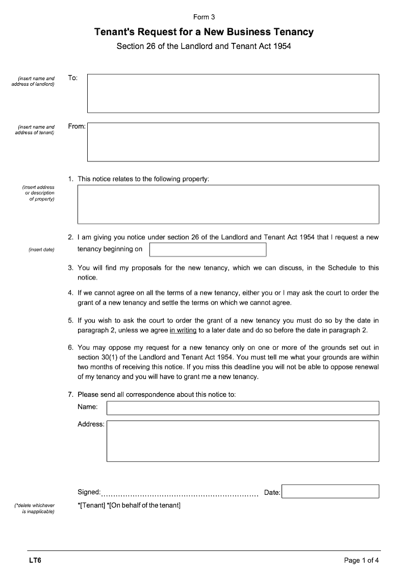 LT3 Tenant's request for a new business tenancy (Landlord and Tenant