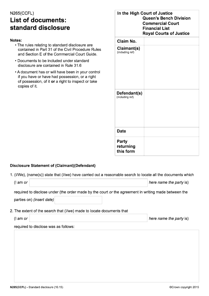 N265ccfl List Of Documents Standard Disclosure In The Financial